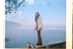Kim Morgan by Lake Geneva, Switzerland, Apr. 1972