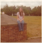 Sheri Morgan, outside the dorms on Lakenheath High School Campus, RAF Lakenheath, England, 1972